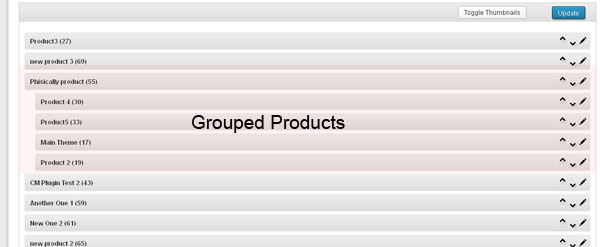 WooCommerce-Grouped Products admin view